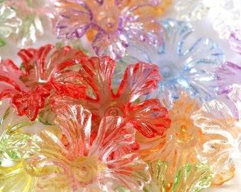 Clearance 20pcs Transparent Mix Color Acrylic Flower Bead Caps PL718