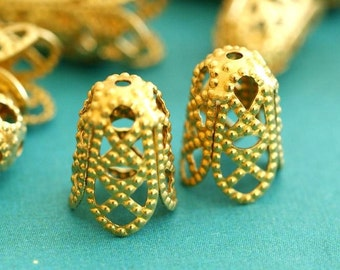 Sale TOP QUALITY Raw 12pcs 12mm Brass Filigree Bead Caps JOK5Q