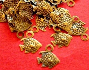 Sale 100pcs 11mm Tiny Antique Bronze Fish Charms