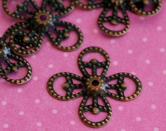 Sale 50pcs 15mm Antique Copper Filigree Bead Caps E245Y-NFR