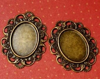 sale 24pcs 32mm Antique Bronze Filigree Wraps AT52