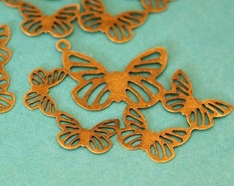 Sale 20pcs 44mm Butterfly Antique Bronze Filigree Charms A-178