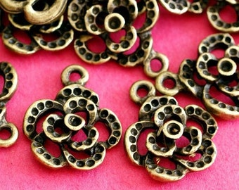 Sale Nickel Free 20pcs Antique Brass Rose Pendants EDD055Y-AB