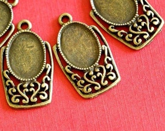 12pcs Antique  Bronze Cameo Base Settings
