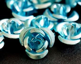 Clearance 50pcs 12mm Aqua Aluminum Rose Flower Beads AF12MM007Y