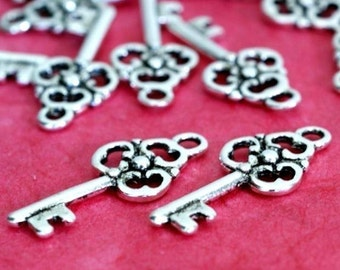 Clearance 27pcs Antique Silver Key Charms (23mm )