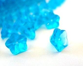 20pcs Small Morning Glory Blue Glass Beads 6x9mm