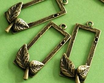 6pcs Antique Bronze Leaf With Rectangle Pendants EA11654Y-AB