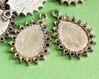 Clearance 12pcs ANTIQUE Silver Drop Cameo Base Settings EAA243Y