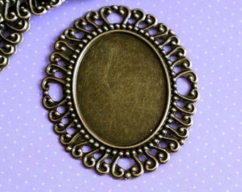 Sale 20pcs 60mm Big ANTIQUE BRONZE Cameo Settings