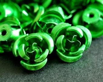 Clearance 50pcs 12mm Green Aluminum Rose Flower Beads AF12MM009Y