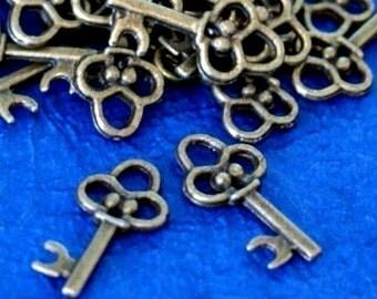 Sale 30pcs Antique Bronze Key Charms (20mm )