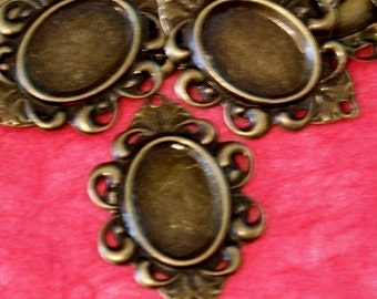 Clearance 100pcs 30mm Antique Bronze Cameo Base Settings AT51