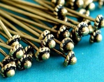 12ps 52mm Antique Brass Head Pins FINDING