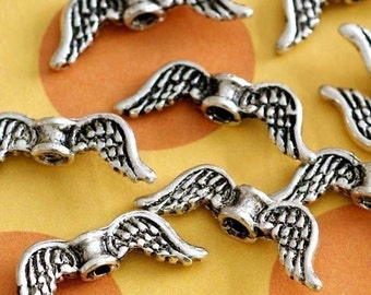 20pcs 19mm Antique Silver Angel Wing Spacer