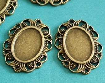 10pcs 32mm Antique Bronze Cameo Settings AT52a