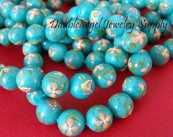 Sale 6pcs 12mm Coloured Drawing Shell Round Bead - 121
