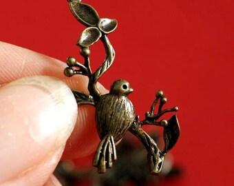 Sale TOP QUALITY 4pcs Antique Bronze Twig with Bird Pendants EC4437Y-AB