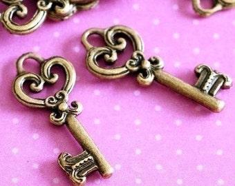 Sale Lead Free 24pcs Antique Bronze Key Charms A8438
