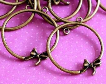 Sale 10pcs Antique Bronze Bowknot Pendants EA11095Y-AB
