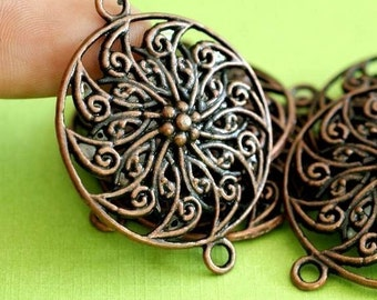 Clearance 10pcs ANTIQUE COPPER Round Flower Connector Links RLF9499Y-NF