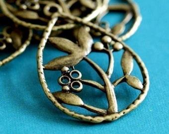 Sale 20pcs Antique Bronze Flower In Drop Pendants EA11057Y-AB