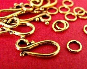 Sale Lead Free 12 set Antique Golden Clasp Sets GLF1277Y