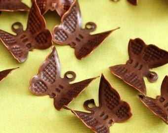 Nickel Free 50pcs Antique Copper Butterfly Charms E261Y-NFR