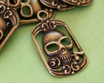 Lead Free 4pcs Antique Bronze Skull Pendants MLF9164Y-NF