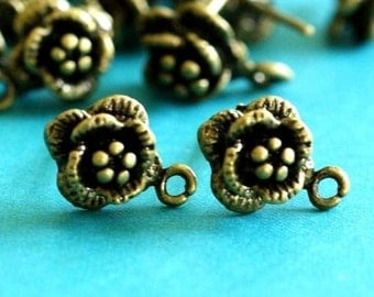 2 pairs of Antqiue Bronze finish Flower EAR Posts