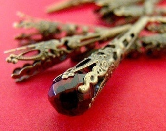 12pcs 42mm Antique Bronze Filigree Cone Bead Caps A033