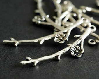 Sale 12pcs Antique sILVER Branch Twig with Flower Pendants EA11640Y-NFS