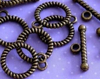 Sale 12 Sets Antique Bronze Rope Toggle MLF0701Y-NF