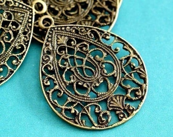 8pcs Antique Bronze Drop FILIGREE Pendants EA10932Y-AB