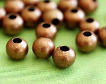 100 Antique Copper Crimp Beads 4mm