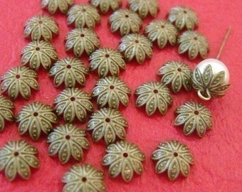 50pcs 10mm Antique Bronze Filigree Bead Caps A025