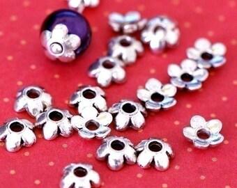 Lead Free 100pcs 6.5mm Antique Silver Flower Bead Caps LFH1006Y