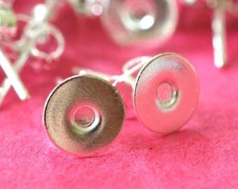 24pcs Silver Finish Ear Posts 12x6mm