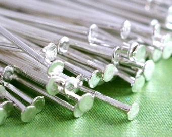100ps 2 inch Silver Plated Headpins FINDING 50mm