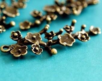 Sale 6pcs Antique Bronze Branch Twig with Flower Pendants EA11641Y-AB