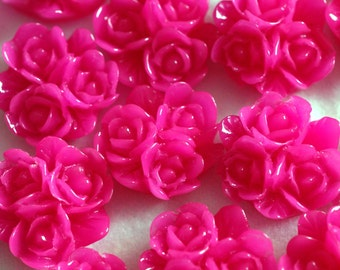 Clearance 20pcs Deep Pink Three Rose Cabochons 16mm RB1063Y-1