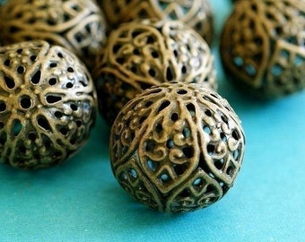 6pcs 18mm Antique Bronze Filigree Beads