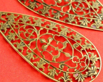 10pcs 81mm Antique Bronze Filigree Pendants