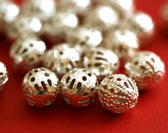 Sale 25pcs 8mm Silver Filigree Beads A041-S