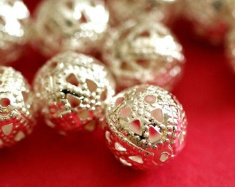 Sale 25pcs 10mm Silver Tone Filigree Beads A042-S
