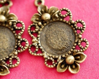 Sale 12pcs Antique Bronze Flower Cameo Base Settings