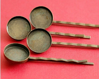 Sale 6pcs Antique Bronze Bobby Pins With Round Cameo Base Setting