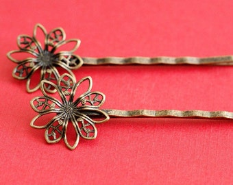 6pcs Antique Bronze Bobby Pins With Flower Pad