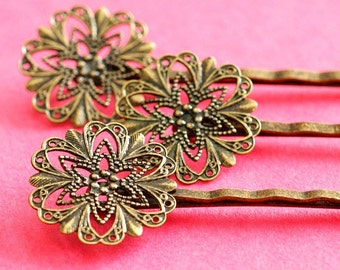 5pcs Antique Bronze Bobby Pins With Flower Pad