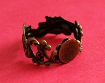 Sale 4pcs Brass Adjustable Flower Ring Base Setting